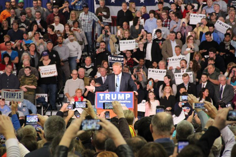 Donald Trump speaking at one of his rallys