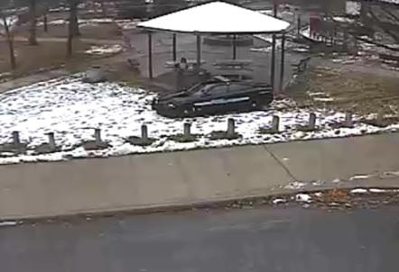 The analysis marks this frame as the moment Officer Loehmann exited his vehicle, and Tamir Rice's 'shoulder and arm move upward.'