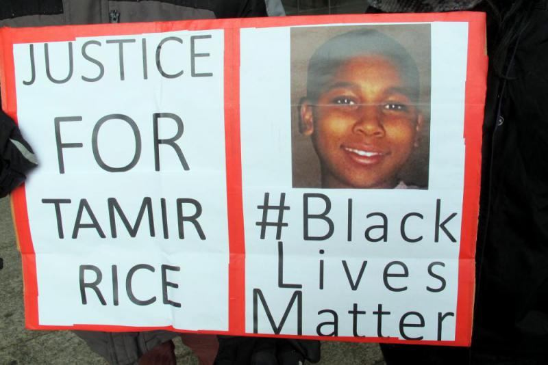photo of Tamir Rice protest sign