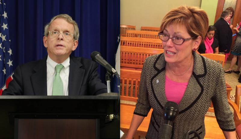 photo of Ohio Attorney General Mike DeWine and Stephanie Kight of Planned Parenthood of Greater Ohio