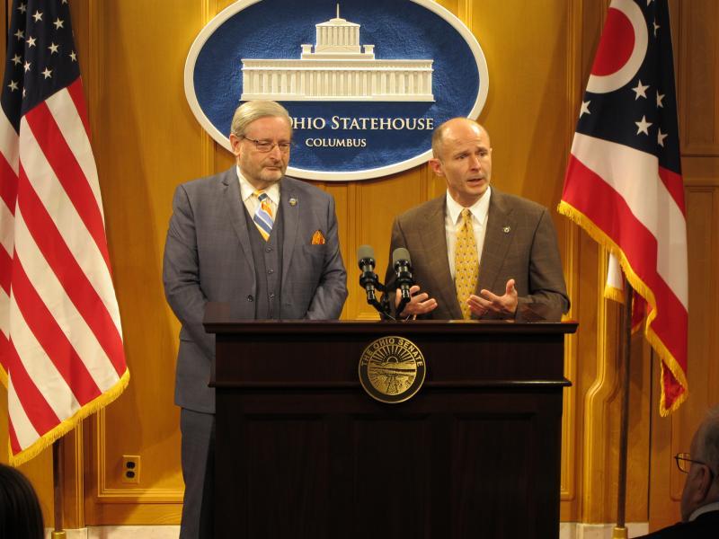 photo of State Senator Kenny Yuko (D) left, and State Senator David Burke (R)right