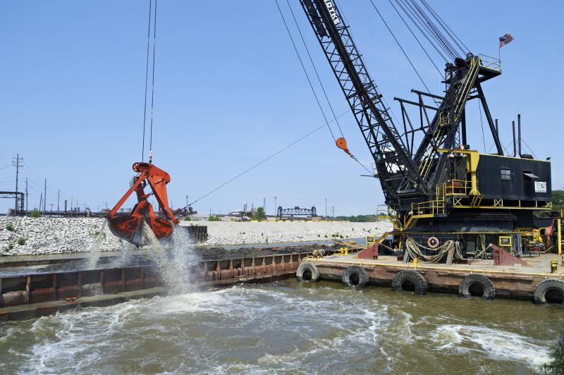 Picture of a dredging operation in Cleveland's shipping channel
