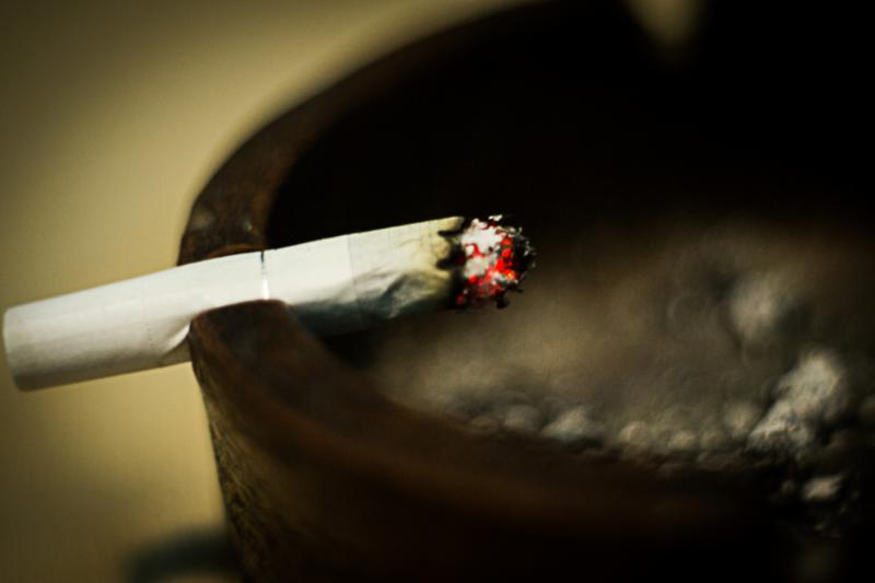 Photo of a cigarette burning