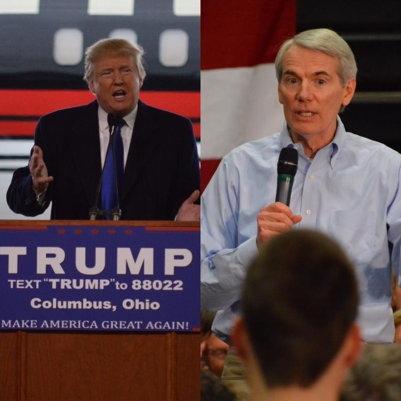 Split photo of Donald Trump, left, and Ohio Sen. Rob Portman, right