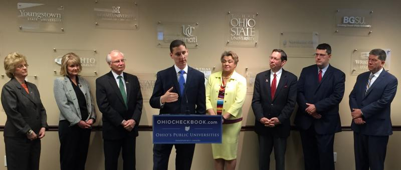 Ohio Treasurer Josh Mandel with five state university officials