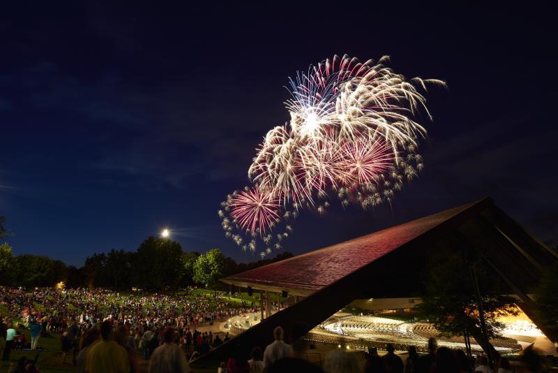 Fireworks over Blossom Music Center.