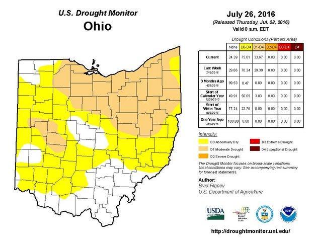 NOAA drought map of Ohio
