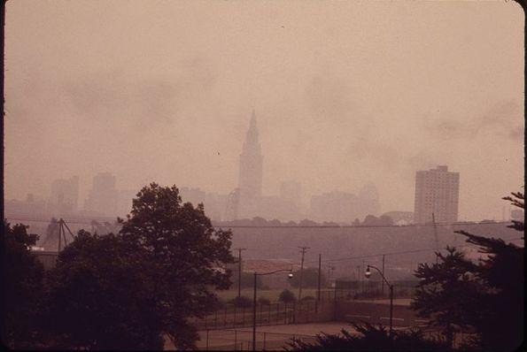 photo of Cleveland skyline pollution