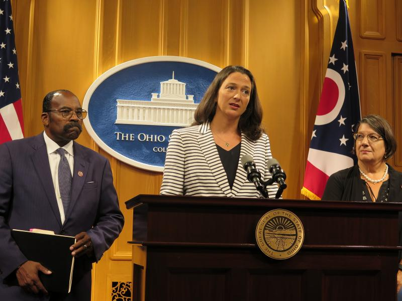 photo of Democratic Reps. Hearcel Craig, Greta Johnson (at podium) and Nickie Antonio