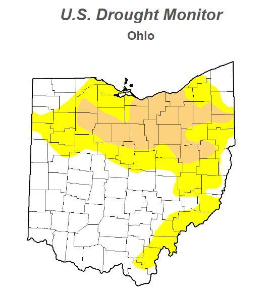 map of Ohio drought conditions on September 13, 2016