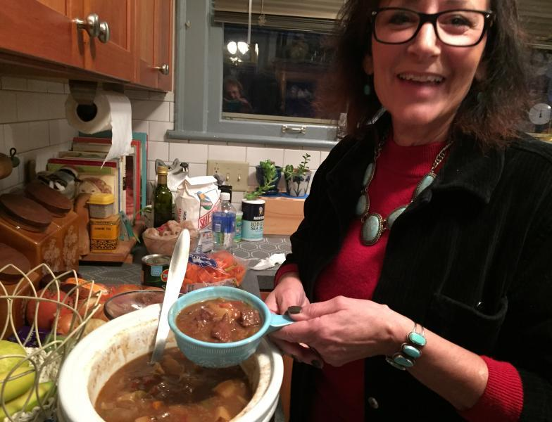 Georgi Hudson Smith simmers her buffalo stew for hours. The meat is lean but very tender. It's a dish she might make for any Native American feast including Thanksgiving.
