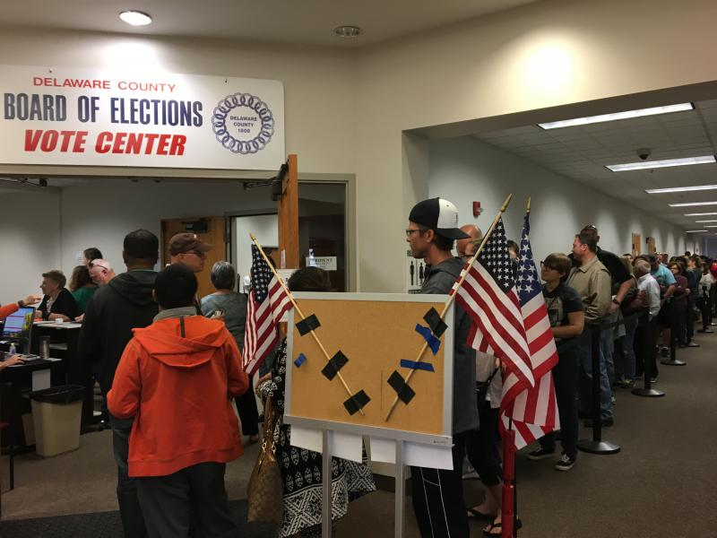 photo of Delaware County voters waiting to cast ballots inside the Delaware County Early Voting Center