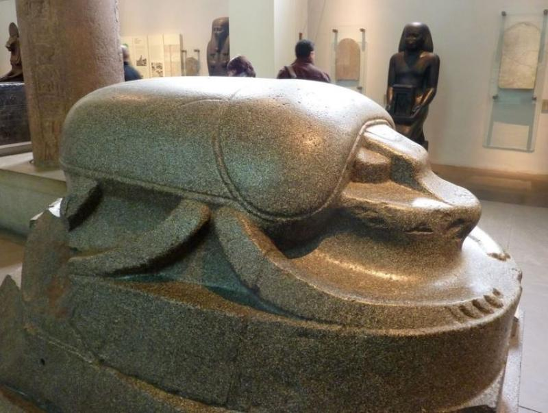 This beautifully carved scarab statue is on display at the British Museum.