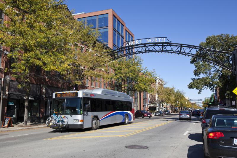 photo of Central Ohio Transit Authority bus in the Short North district of Columbus.