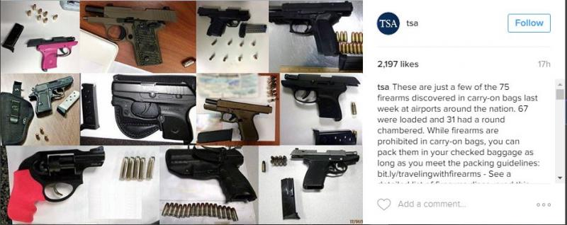 screenshot of TSA Instagram post