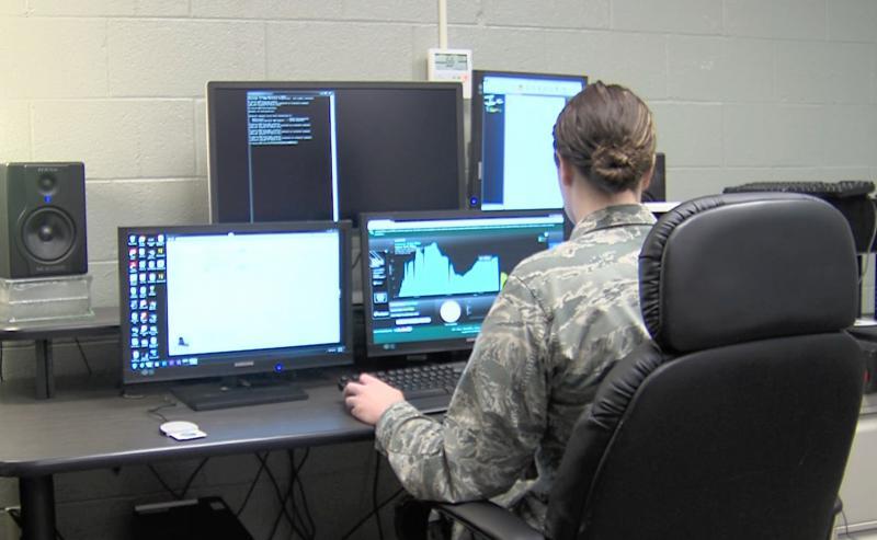 photo of national guardsman at computer