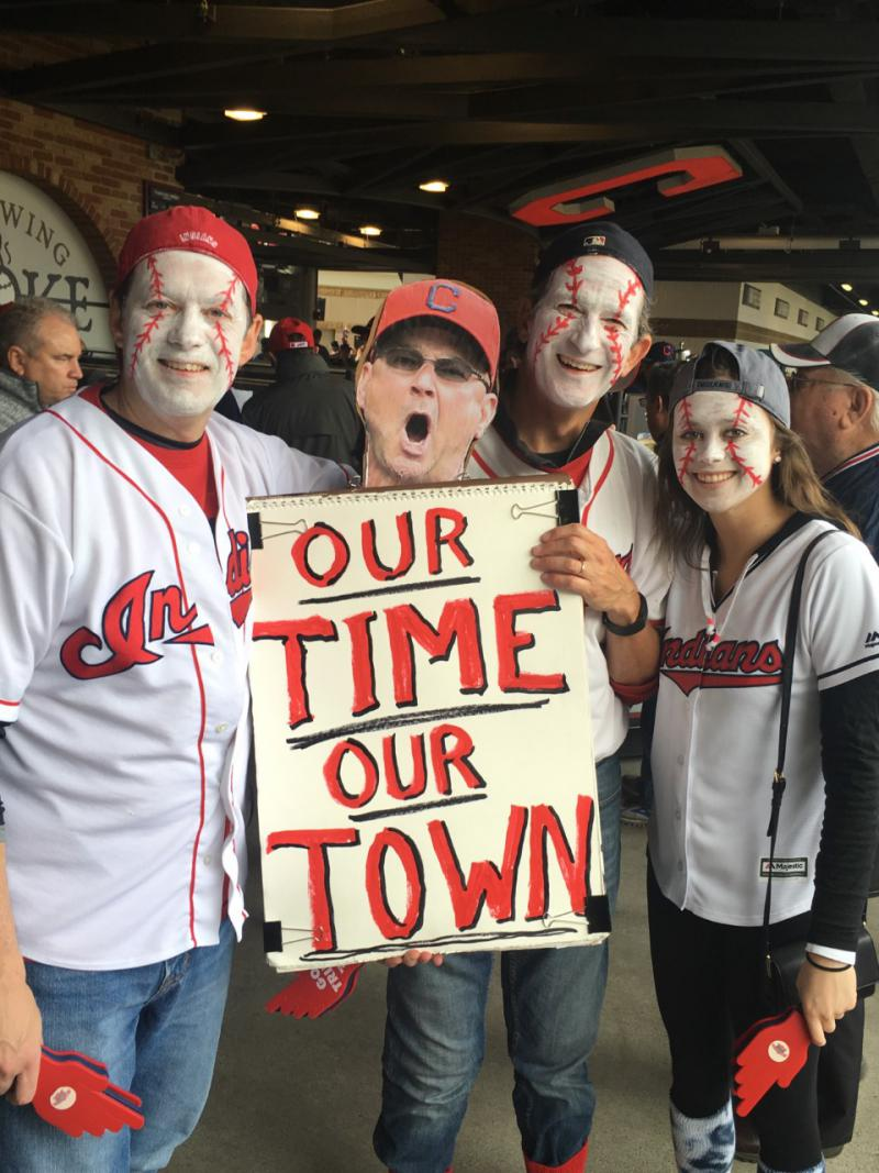 Some of the sellout crowd at the Indians home opener today