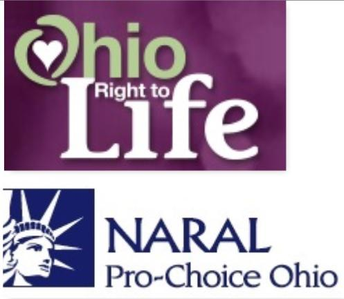 photo of Ohio Right to Life and NARAL Pro-Choice logos