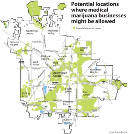 Akron medical marijuana zoning map