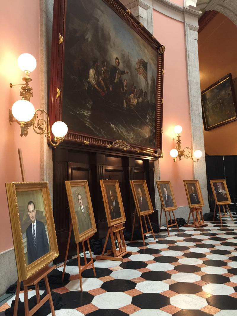 photo of unveiled Ohio Speaker portraits