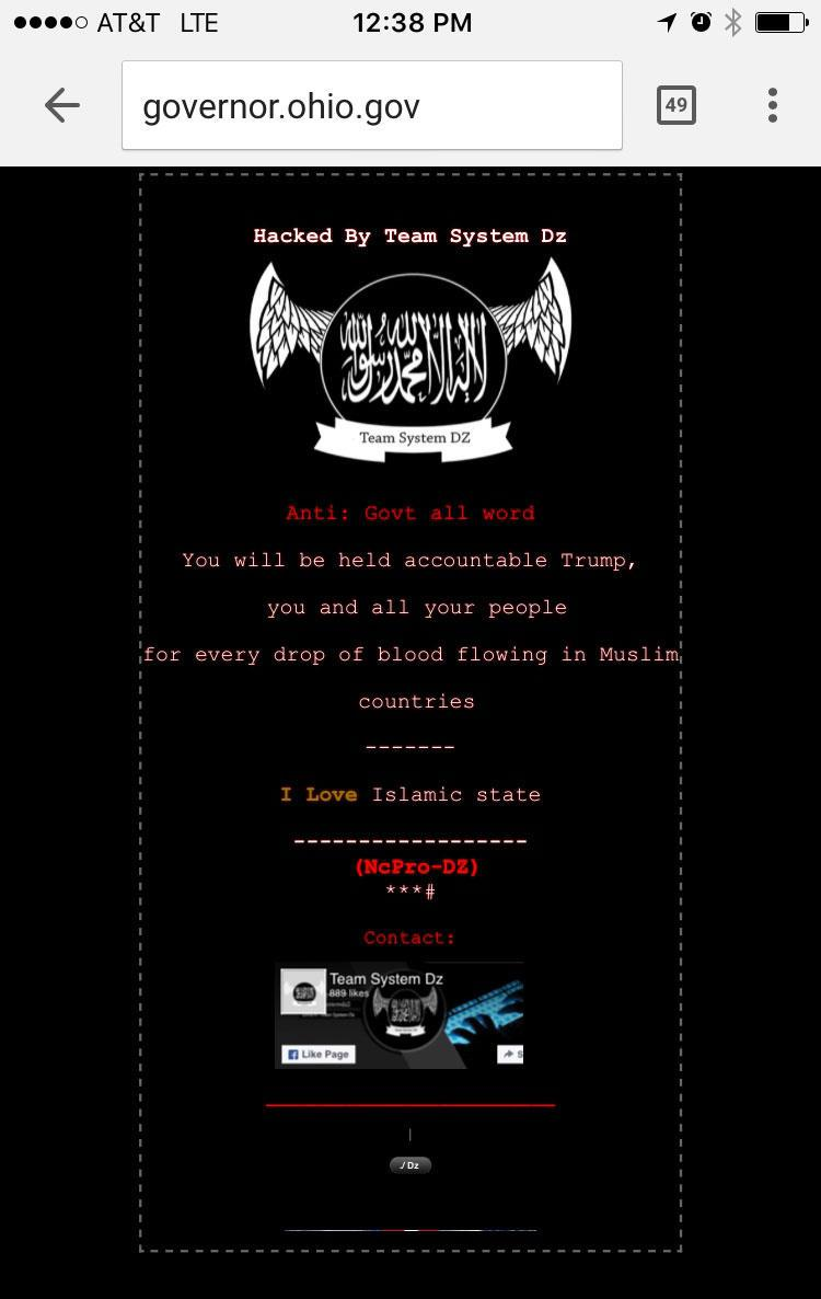 photo of hacked Ohio website