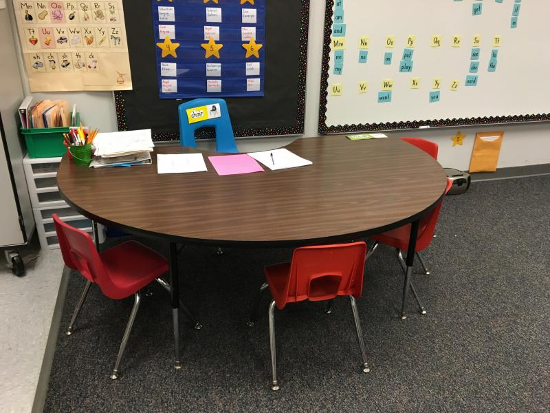 photo of empty classroom table