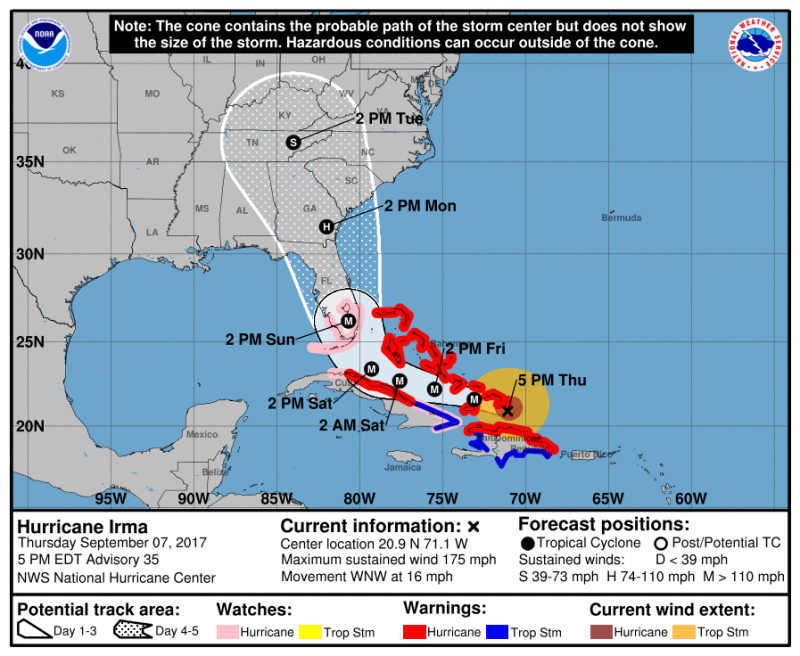 forecast map for Hurricane Irma