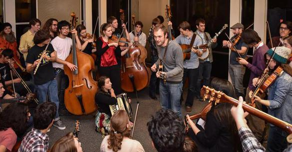 Chris Thile of Punch Brothers leads a jam session at Oberlin Conservatory
