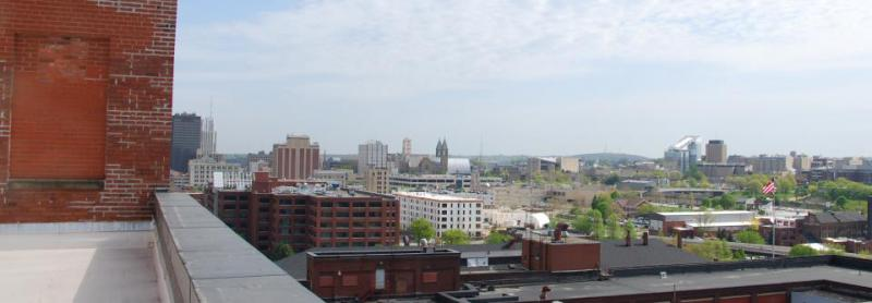 Looking north toward the University of Akron
