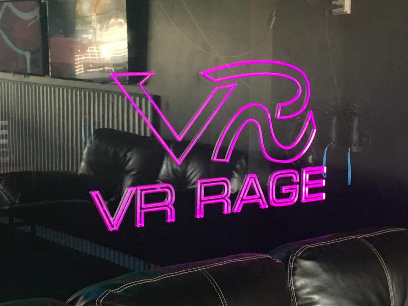 Photo of one of VR Rage's indoor signs