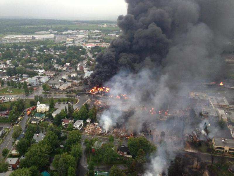 Tanker car fire following crude oil train derailment