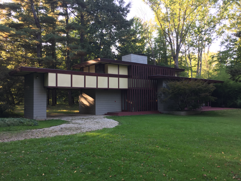 The Louis Penfield House is a rare Frank Lloyd Wright designed two-story Usonian home.