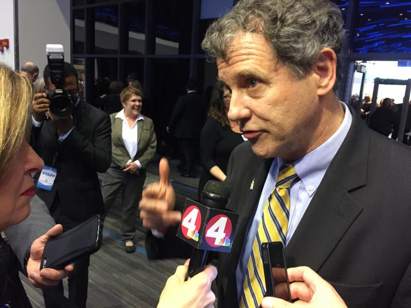 Sen. Sherrod Brown talks to reporters