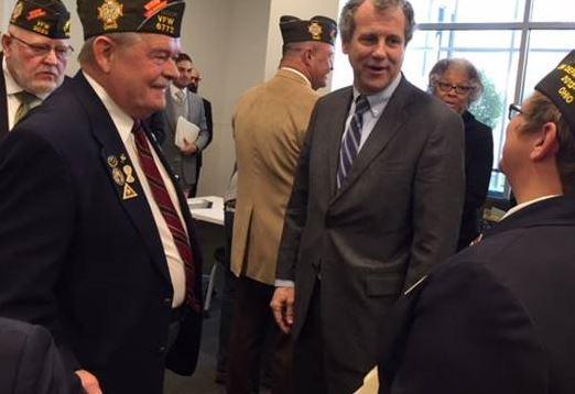 Sen. Sherrod Brown and vets in Columbus