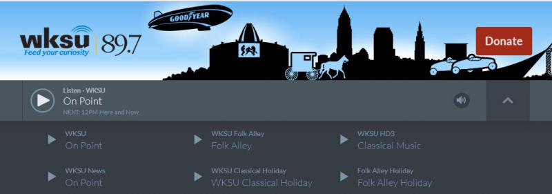 Click on the arrow to the right in the page banner to access available WKSU audio streams
