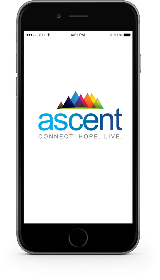 Photo of Ascent logo on phone