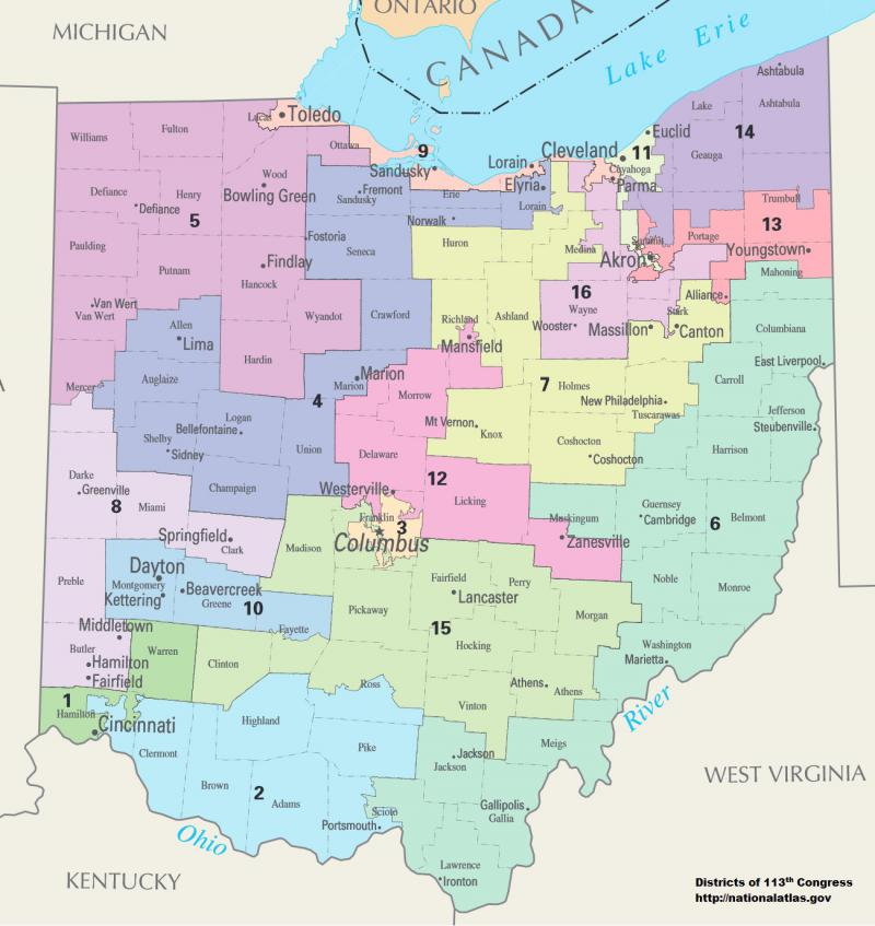 map of Ohio's congressional districts
