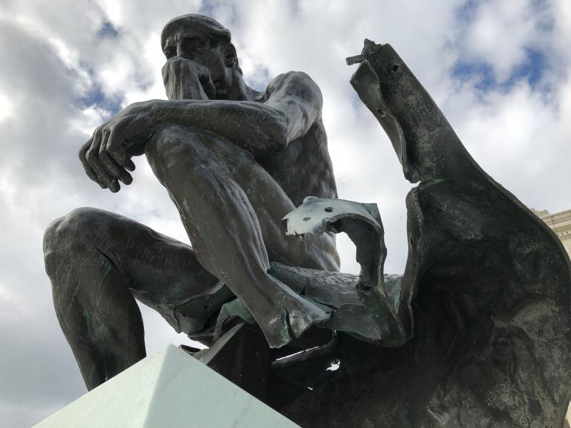 The Cleveland Museum of Art's The Thinker was never repaired after a bomb ripped apart its base in 1970.