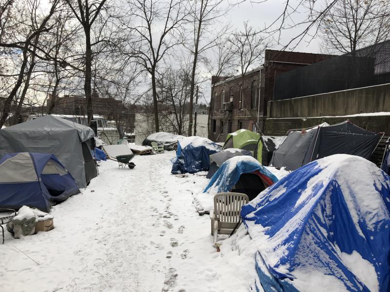 Around 30 people sleep outside in tents at Second Chance Village as temperatures plummet
