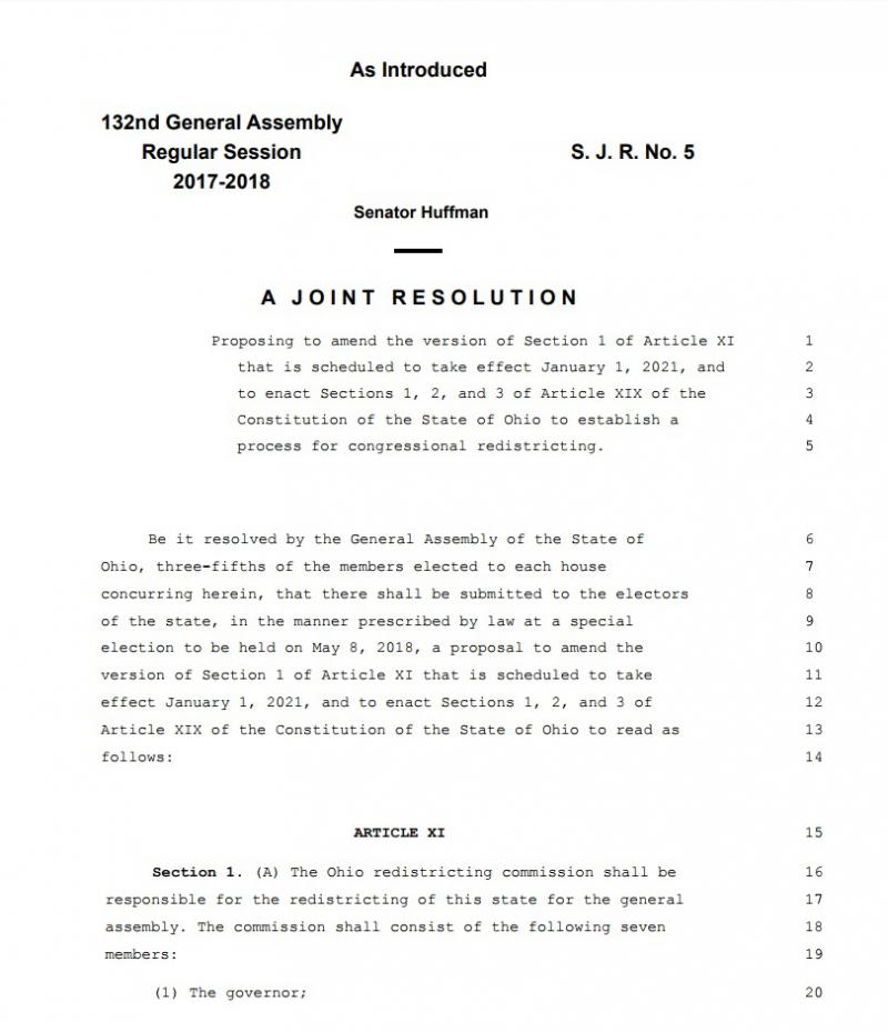 The front page of the redistricting plan.