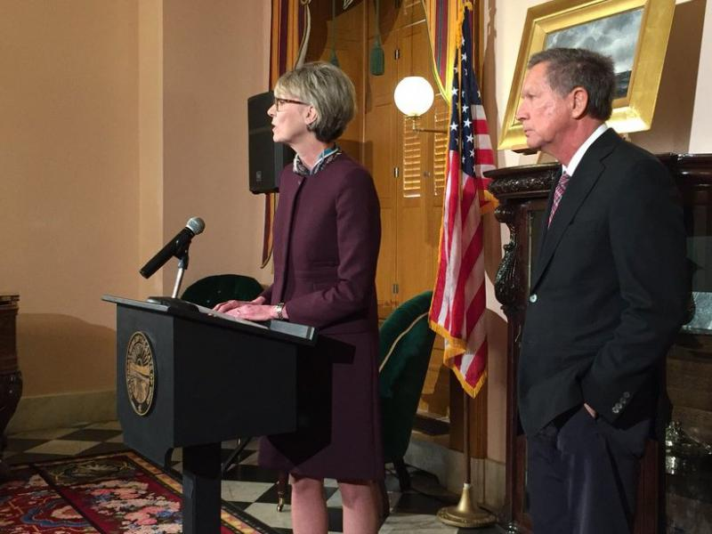 A photo of Supreme Court Justice Mary DeGenaro with Gov. John Kasich.