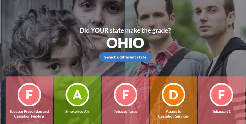 Photo of Ohio's grades from the American Lung Association