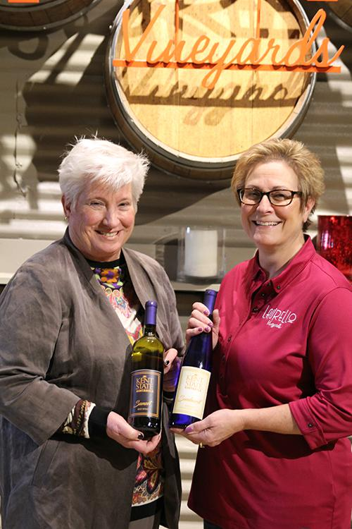 A photo of Kent State Ashtabula Dean Susan Stocker and Kim Laurello, co-owner of Laurello Vineyards.