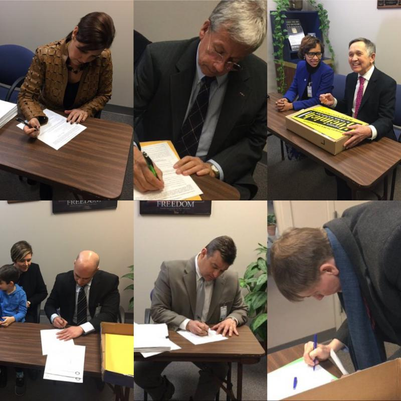 Candidates for governor sign papers