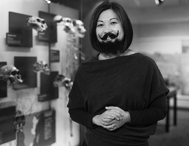 Cleveland Museum of Natural History curator Denise Su sports an impressive beard and mustache as part of the Bearded Lady Project. The museum is celebrating the work of women scientists through April.