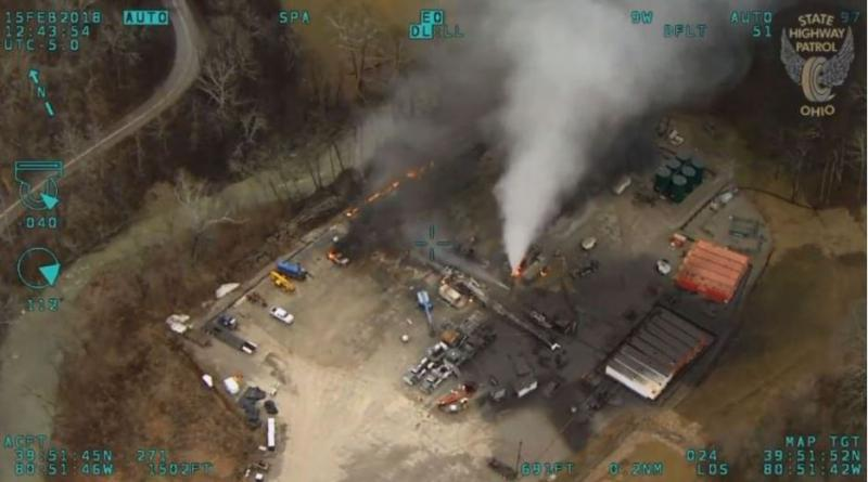Helicopter view of the Belmont County well explosion for