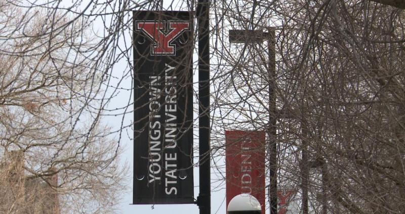A photo of banners at Youngstown State University.