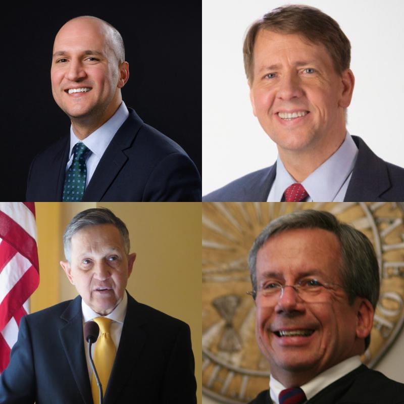 Photos of Joe Schiavoni, Richard Cordray, Justice Bill O'Neill and Dennis Kucinich.