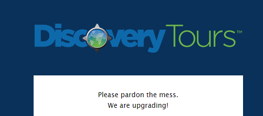 screenshot of Discovery Tours website