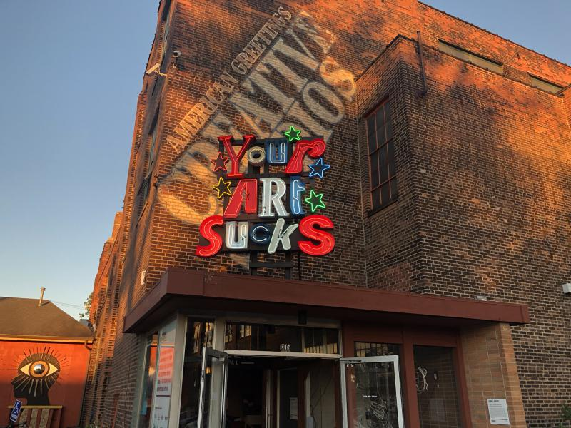 'Words of Encouragement' (Making Myself Great Again) by Dana L. Depew was installed above 78th Street Studios in Cleveland as part of the CAN Triennial